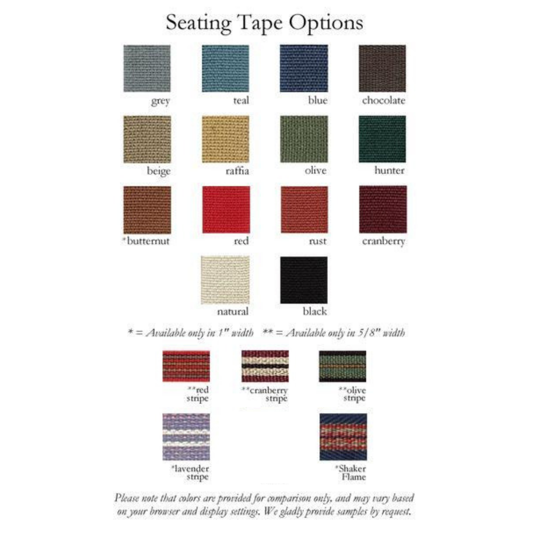 List of 19 tape options for woven seat of Tappan rocking chair, from Maine's Chilton Furniture Co.