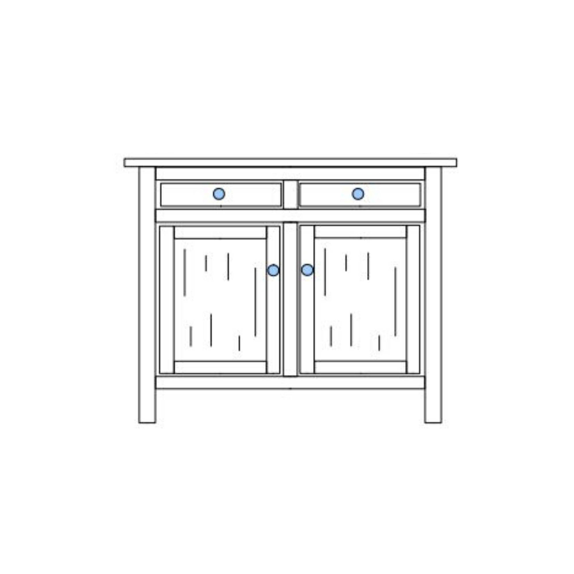 Black and white drawing of 2-Drawer Chilton Traditional Buffet