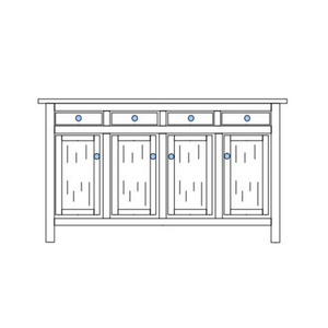Black and white drawing of 4-Drawer Chilton Traditional Buffet