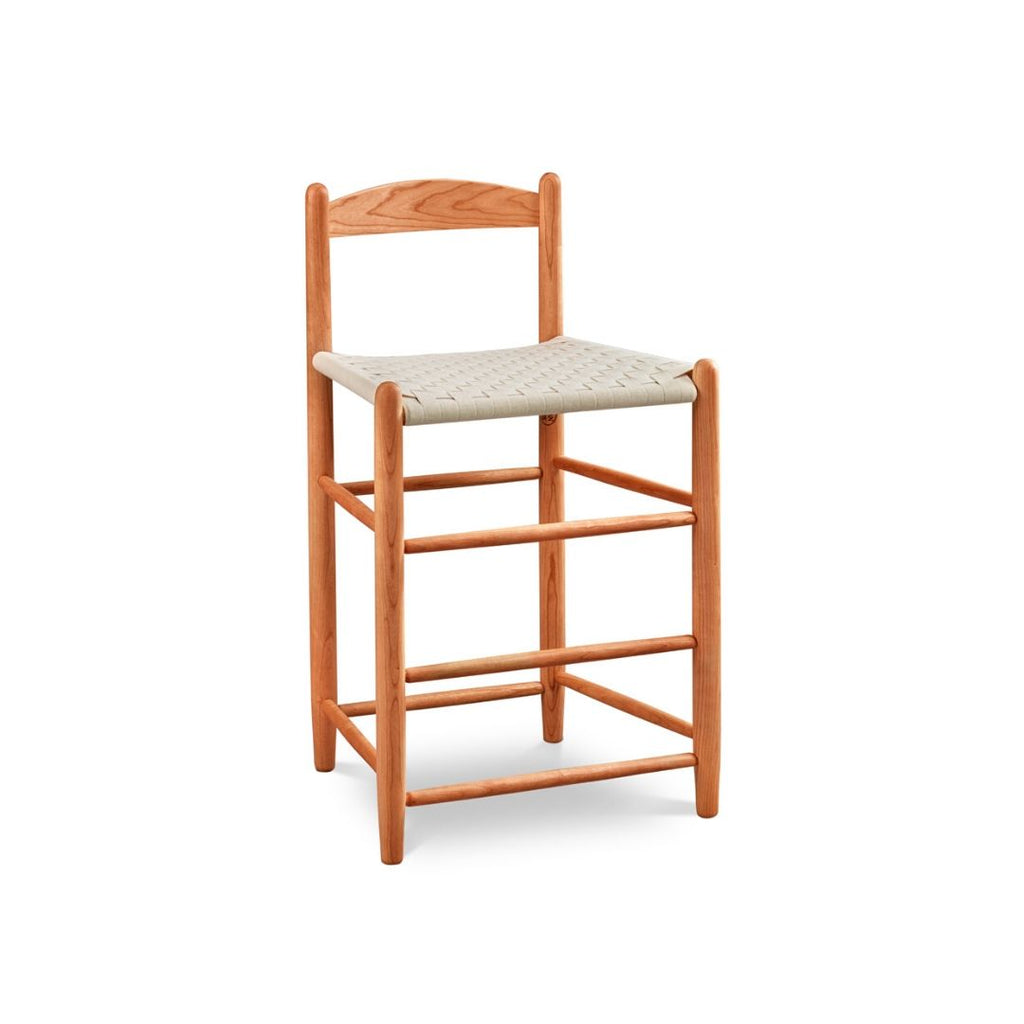 Classic Shaker style bar stool with one slat ladder back, in cherry with woven seat tape