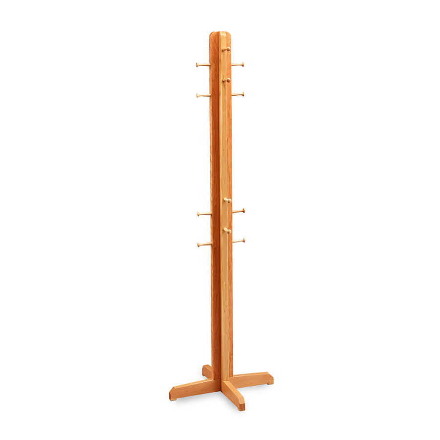 Cherry wood coat hanger with cross base and wooden Shaker mushroom pegs