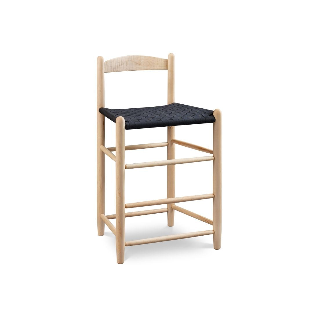 Classic Shaker style bar stool with one slat ladder back, in maple with woven seat tape