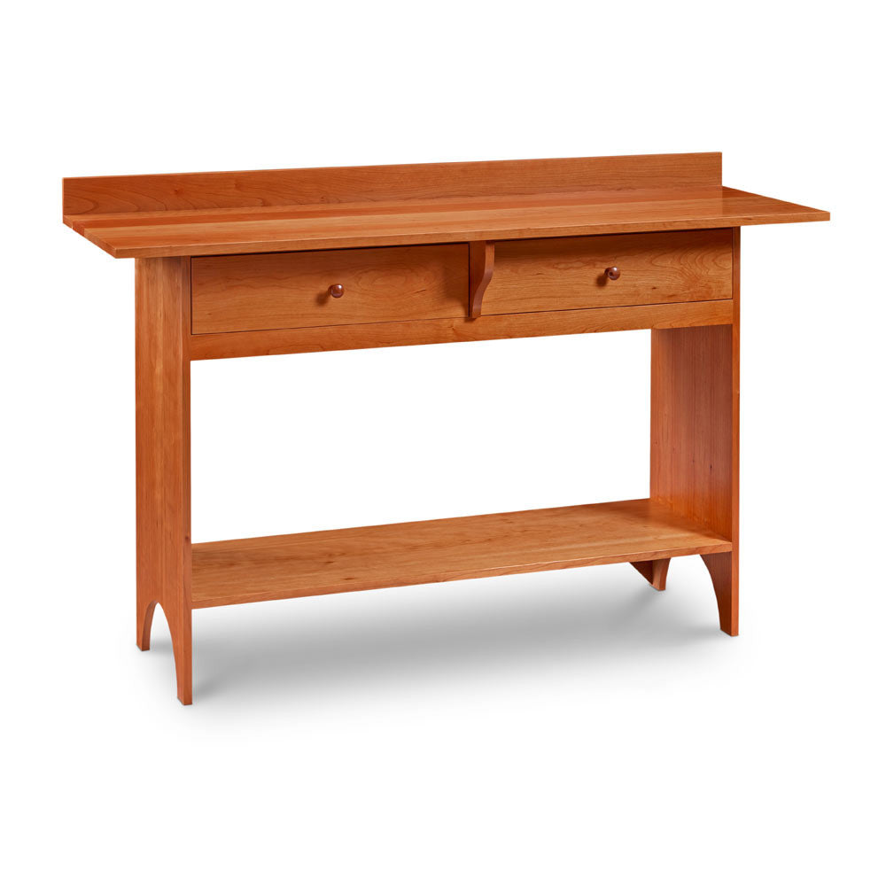 Shaker Work Table made of cherry with backslash, two drawers, a low shelf and a half-moon cut out on both side panel legs