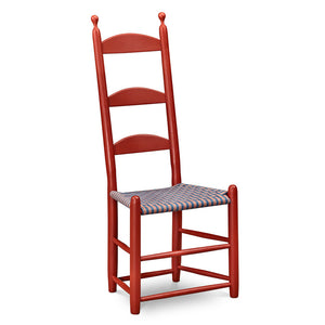 Traditional Shaker side chair in red paint with tall three slat ladder back and taped seat