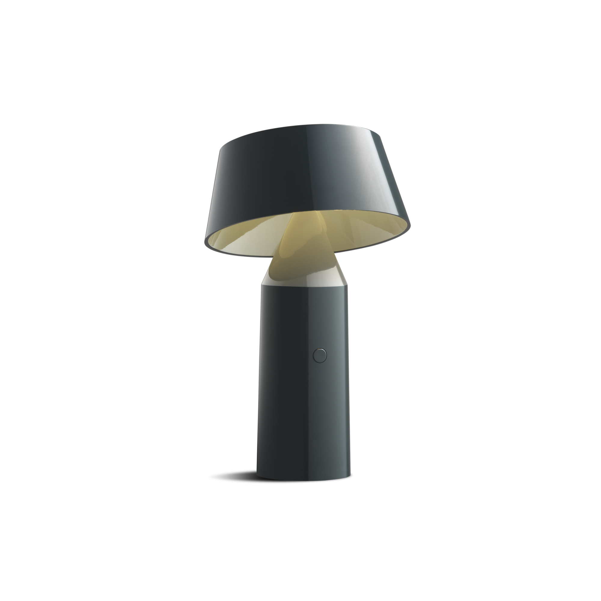 Small black cordless lamp with cylindrical base and tilted black shade