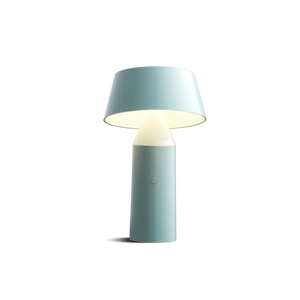 Small blue cordless lamp with cylindrical base and tilted shade
