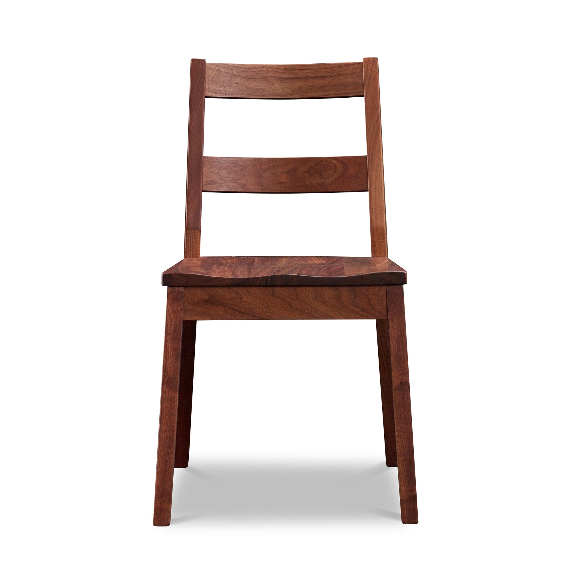 Front view of modern Bridgton side chair with two-slat ladder back in walnut