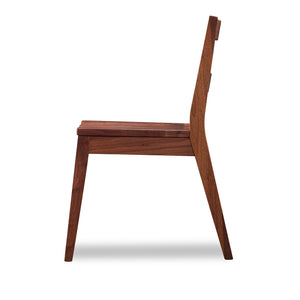 Side view of modern Bridgton side chair with two-slat ladder back in walnut