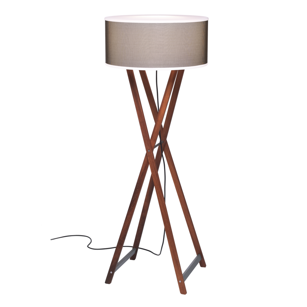 Outdoor floor lamp with crossed wood base and cylindrical shade