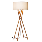 Floor lamp with crossed oak base and cylindrical white shade