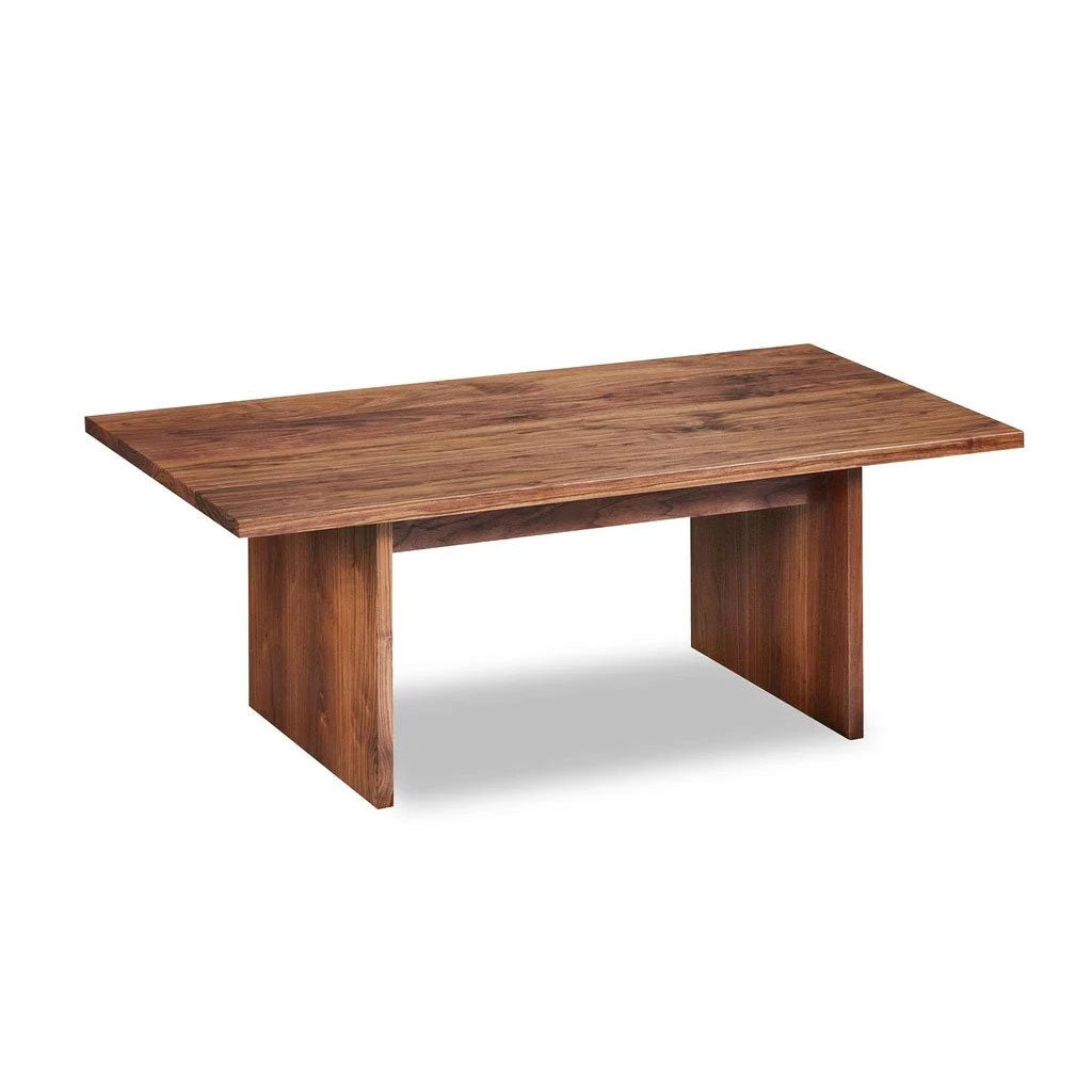 Modern handcrafted wood coffee table with trestle panel style legs in solid walnut