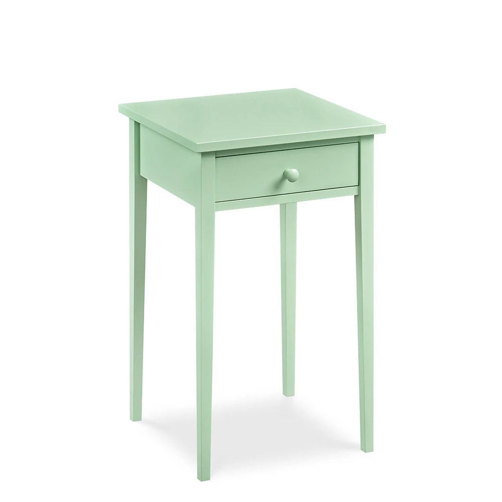 Cottage Nightstand with one drawer and square tapered legs in cottage Seaweed paint color