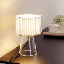 Dining table with pleated Mercer Table lamp next to tea cups