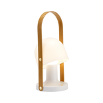 Small portable lamp with white mushroom shaped shade and bent wooden handle