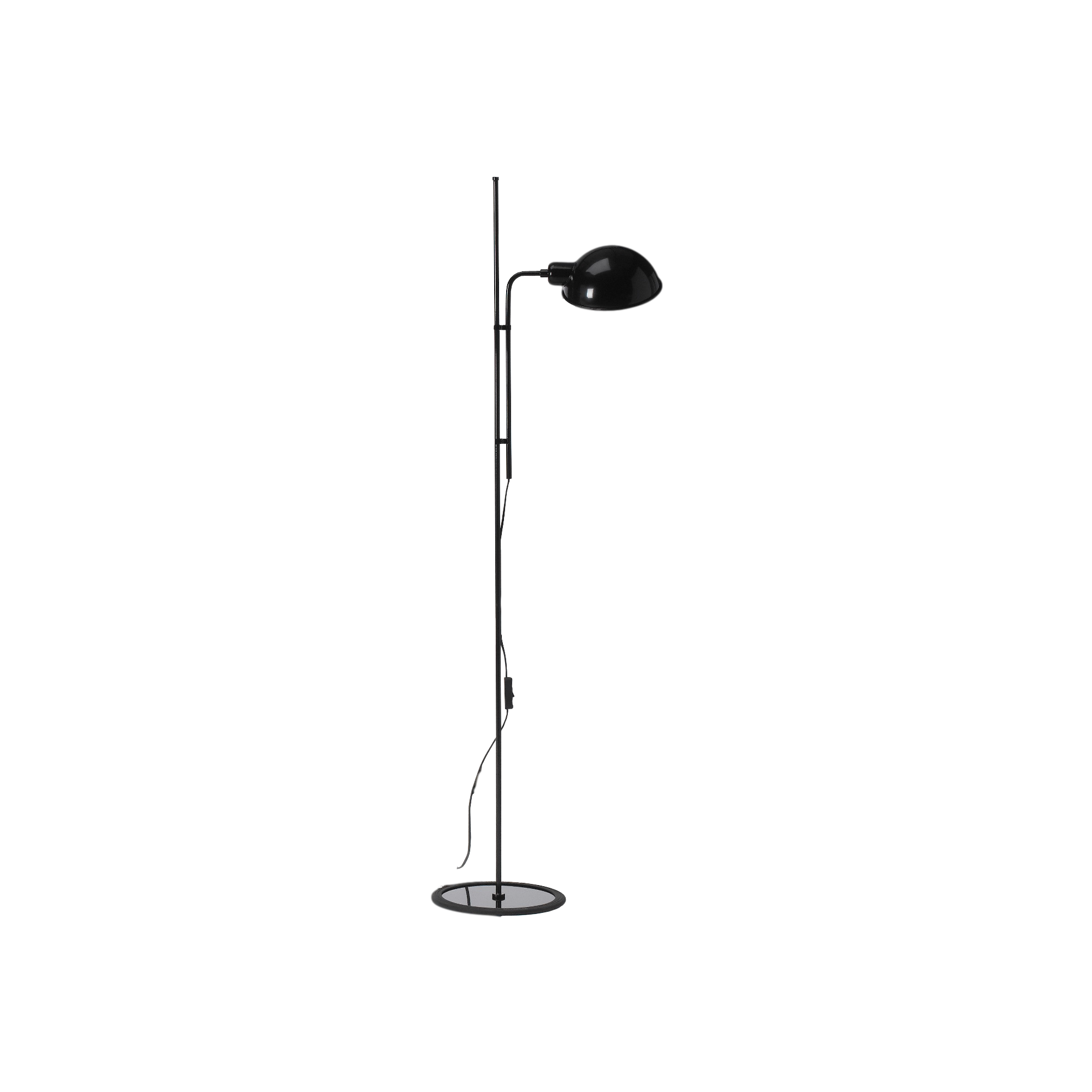 Simple floor lamp with rounded black metal shade