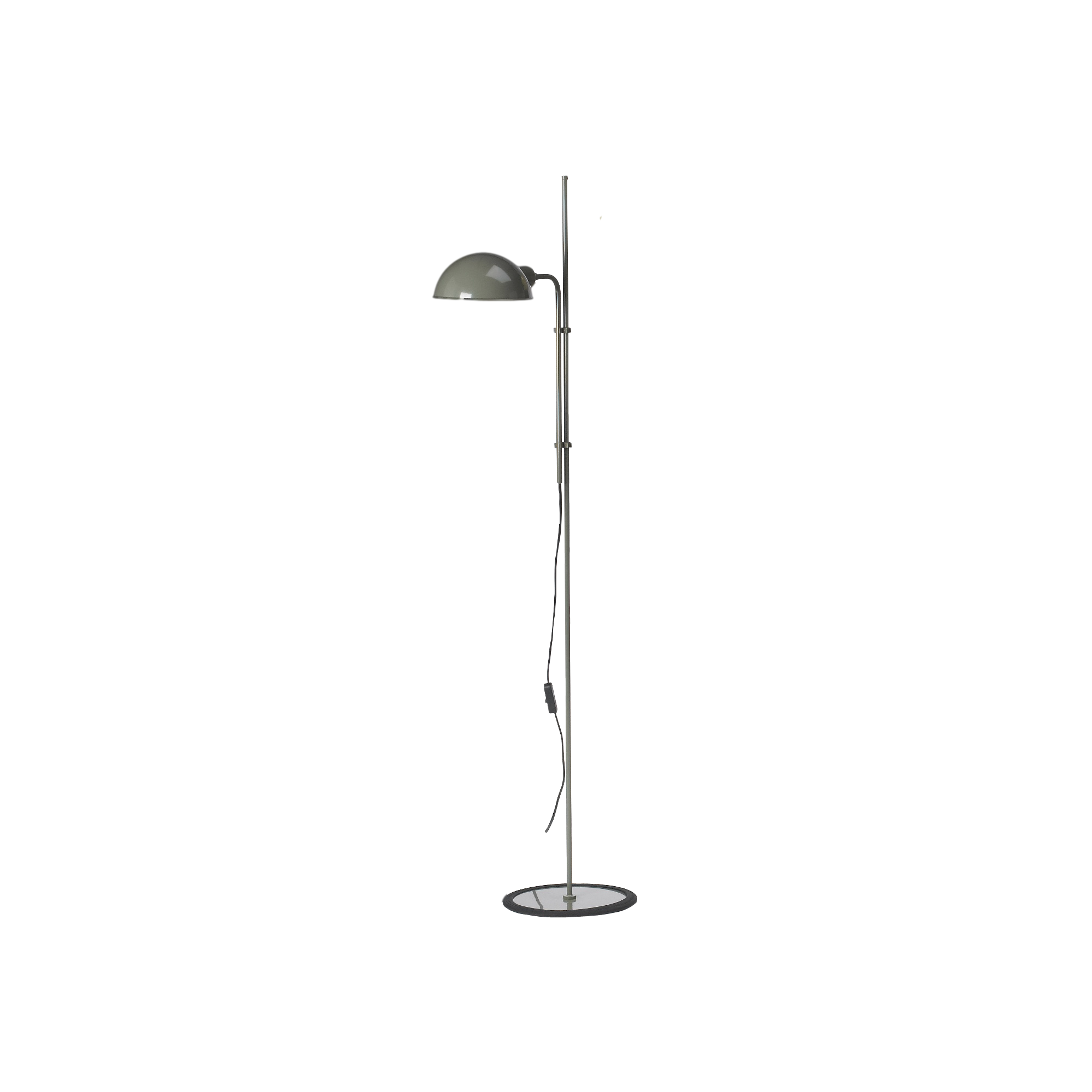 Simple floor lamp with rounded grey metal shade