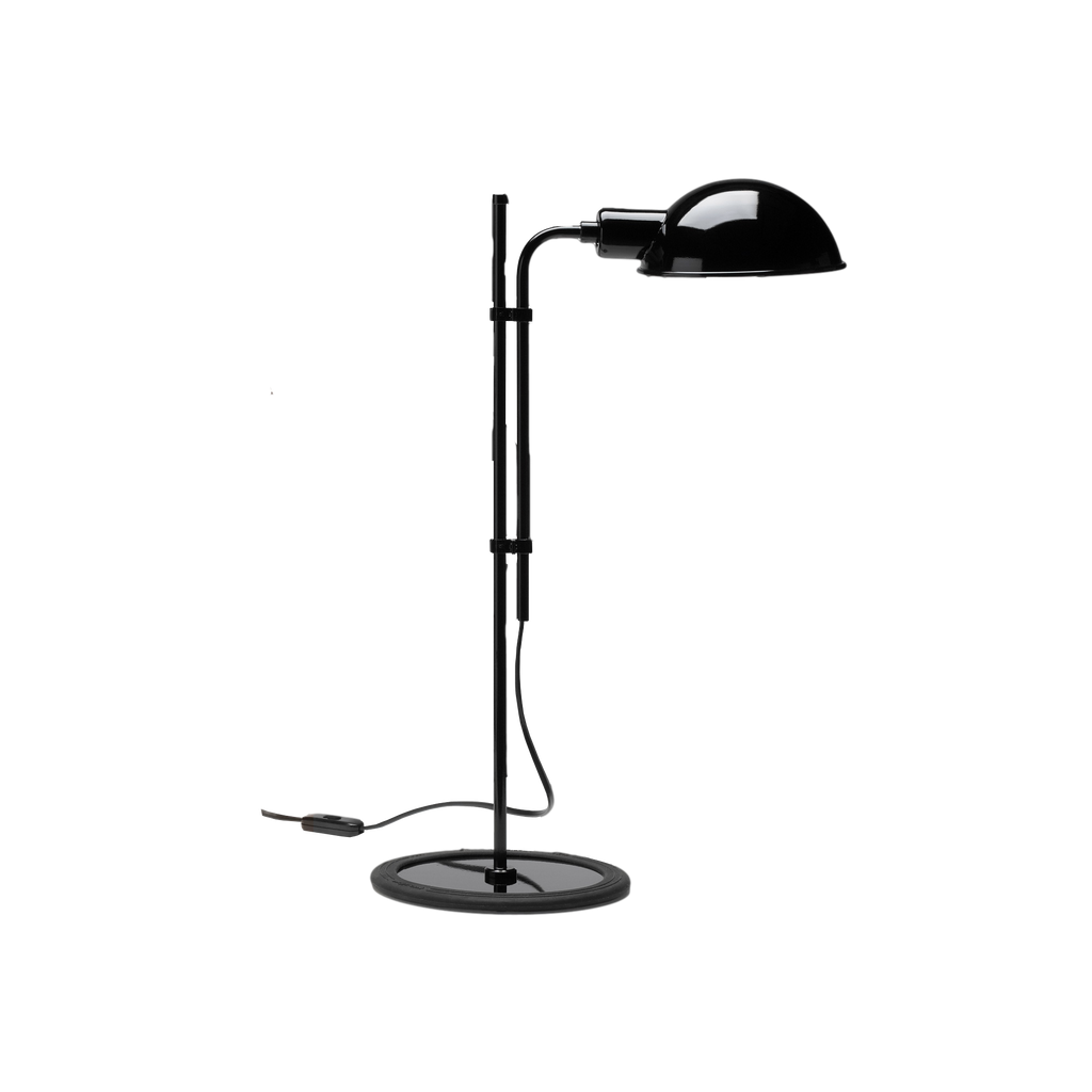 Simple table lamp with rounded black metal shade