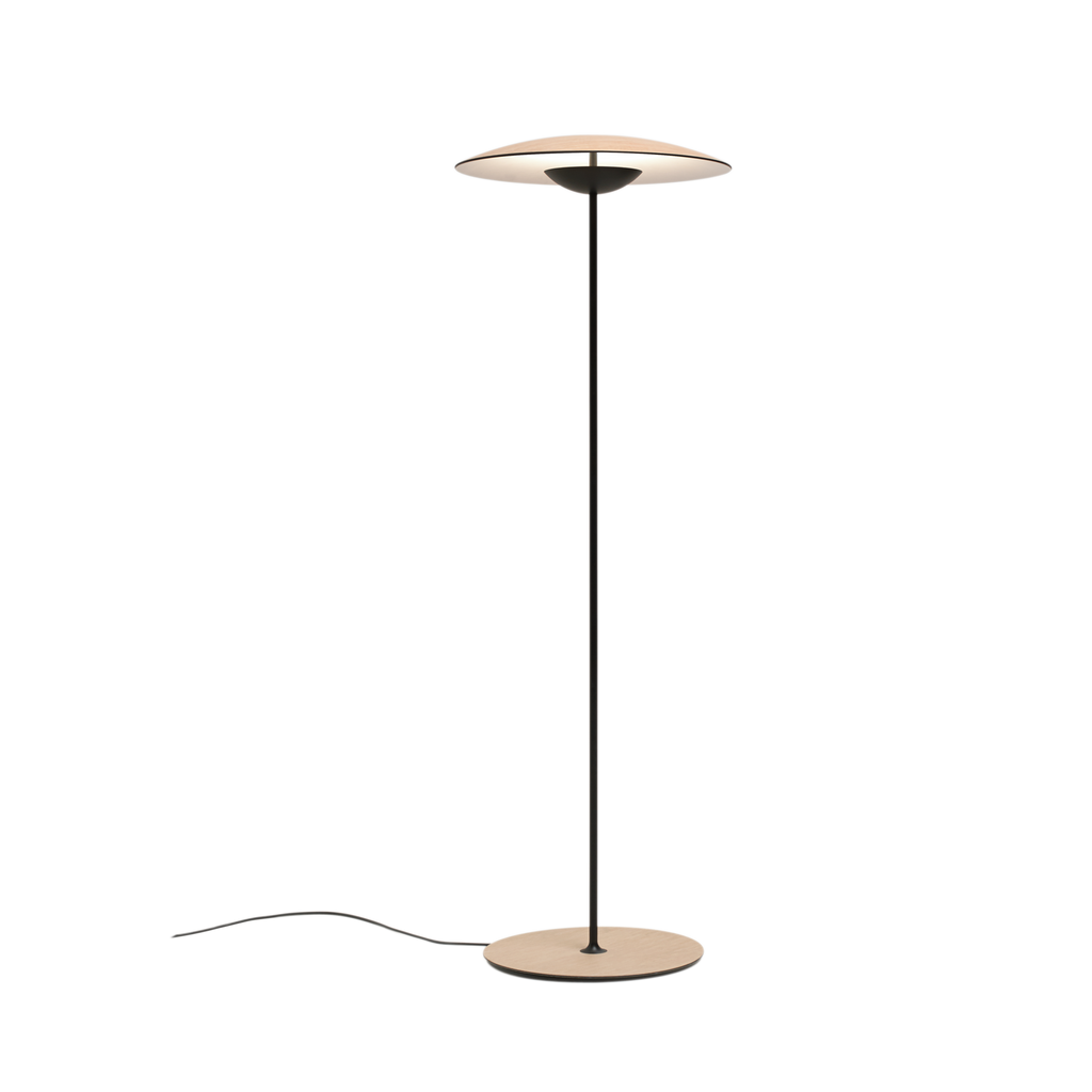 Ginger floor lamp in white oak with thin black stand and slightly curved shade