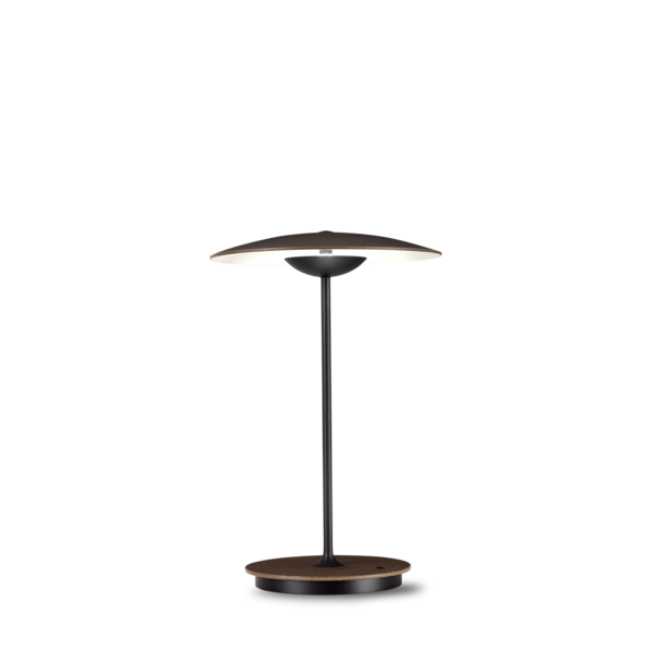 Portable Ginger table lamp in dark brown wenge with thin black stand and slightly curved shade