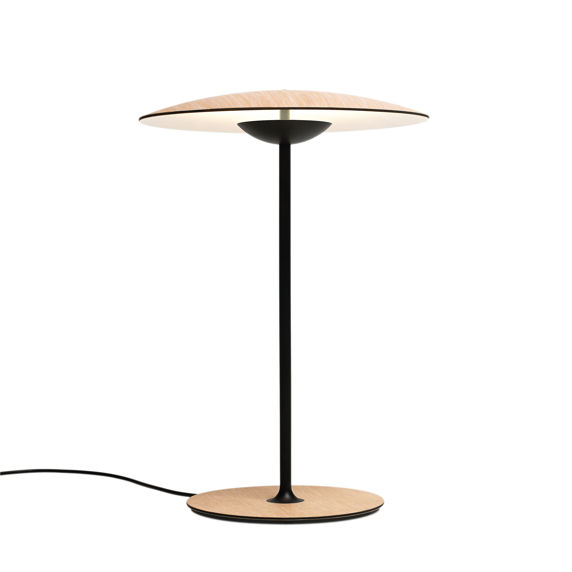 Ginger table lamp in white oak with thin black stand and slightly curved shade