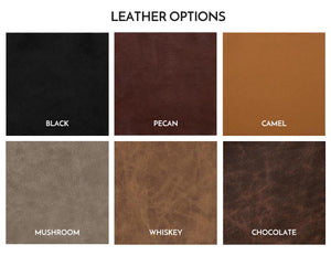 Swatches of six brown, tan, and black toned leather options for Mission Sofa Recliner cushions