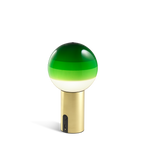 Small portable lamp with brass base and green glass sphere with layered shades from white to dark green