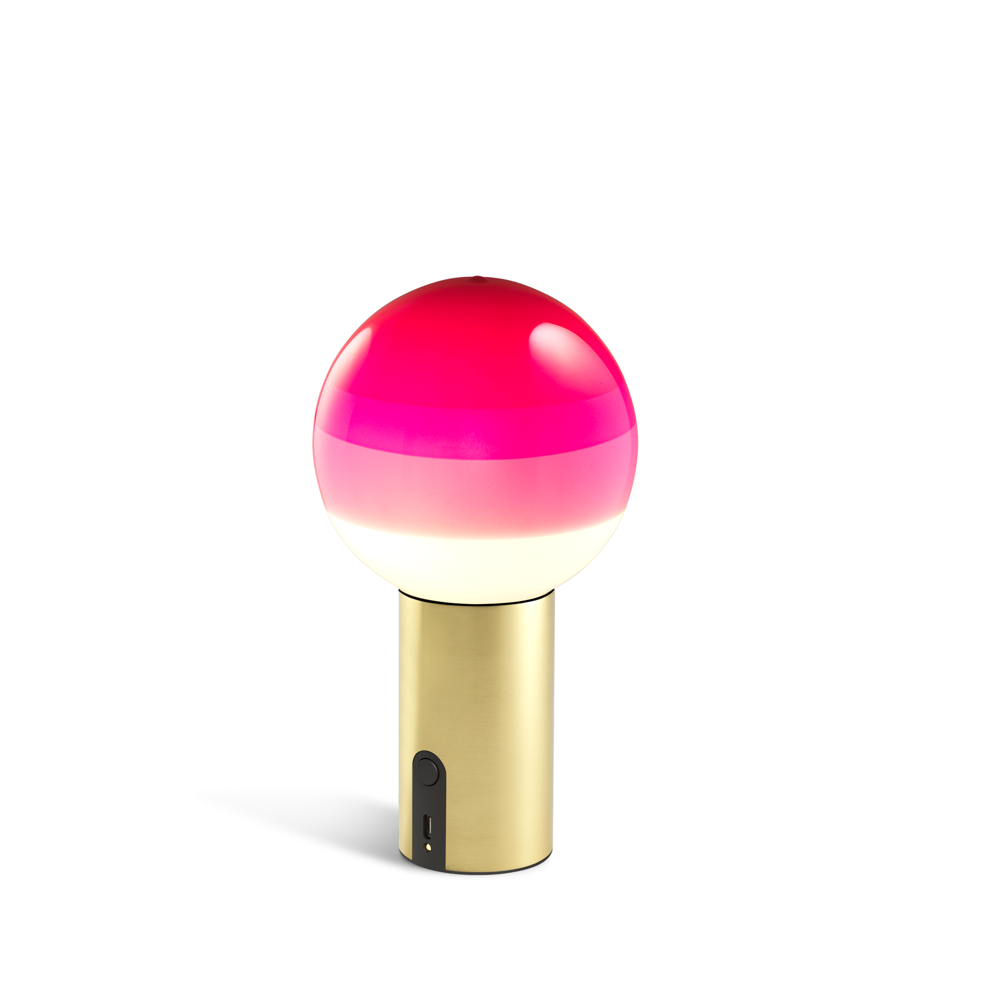 Small portable lamp with brass base and glass sphere with layered shades from white to dark pink