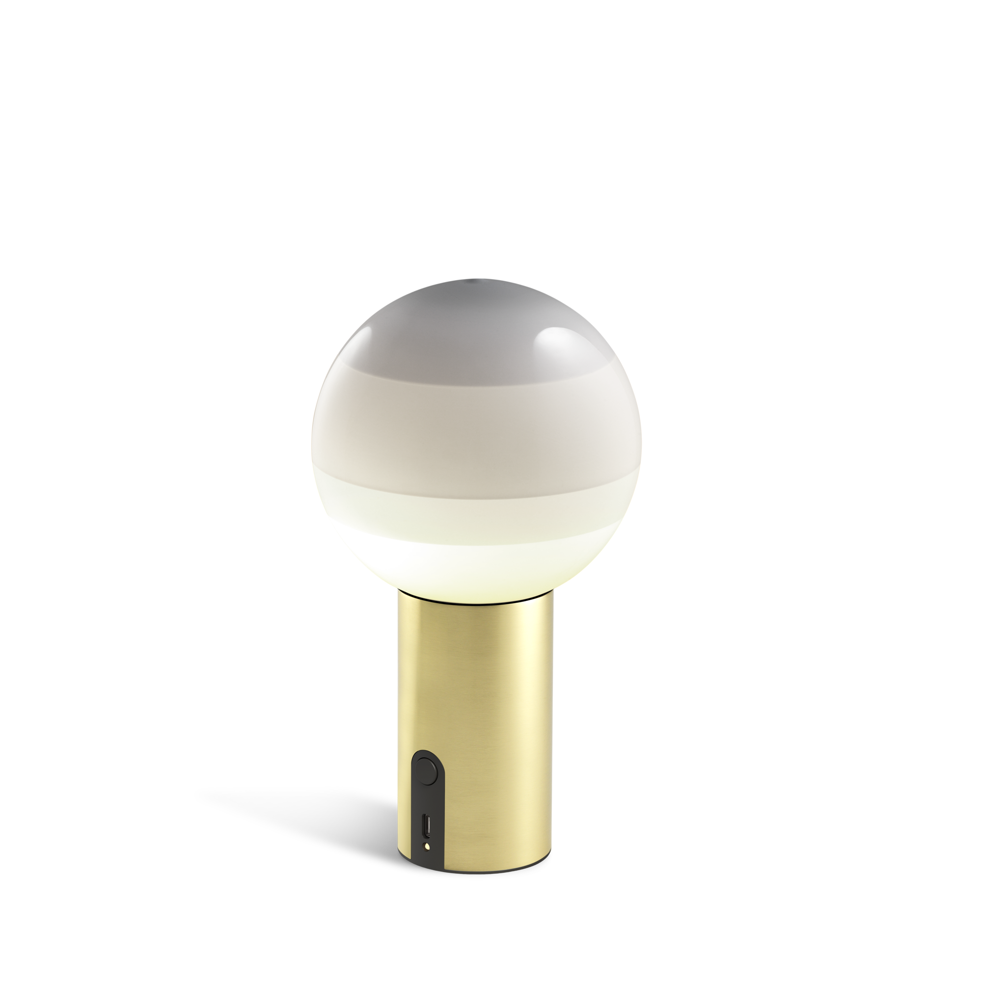 Small portable lamp with brass base and glass sphere with layered shades from white to grey