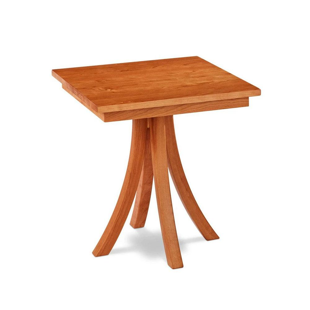Solid cherry wood square Medomak End Table with gently curved legs, from Maine's Chilton Furniture Co.