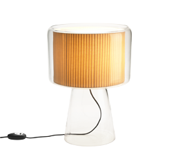 Mercer table lamp with glass base and shade surrounding inner pleated fabric shade