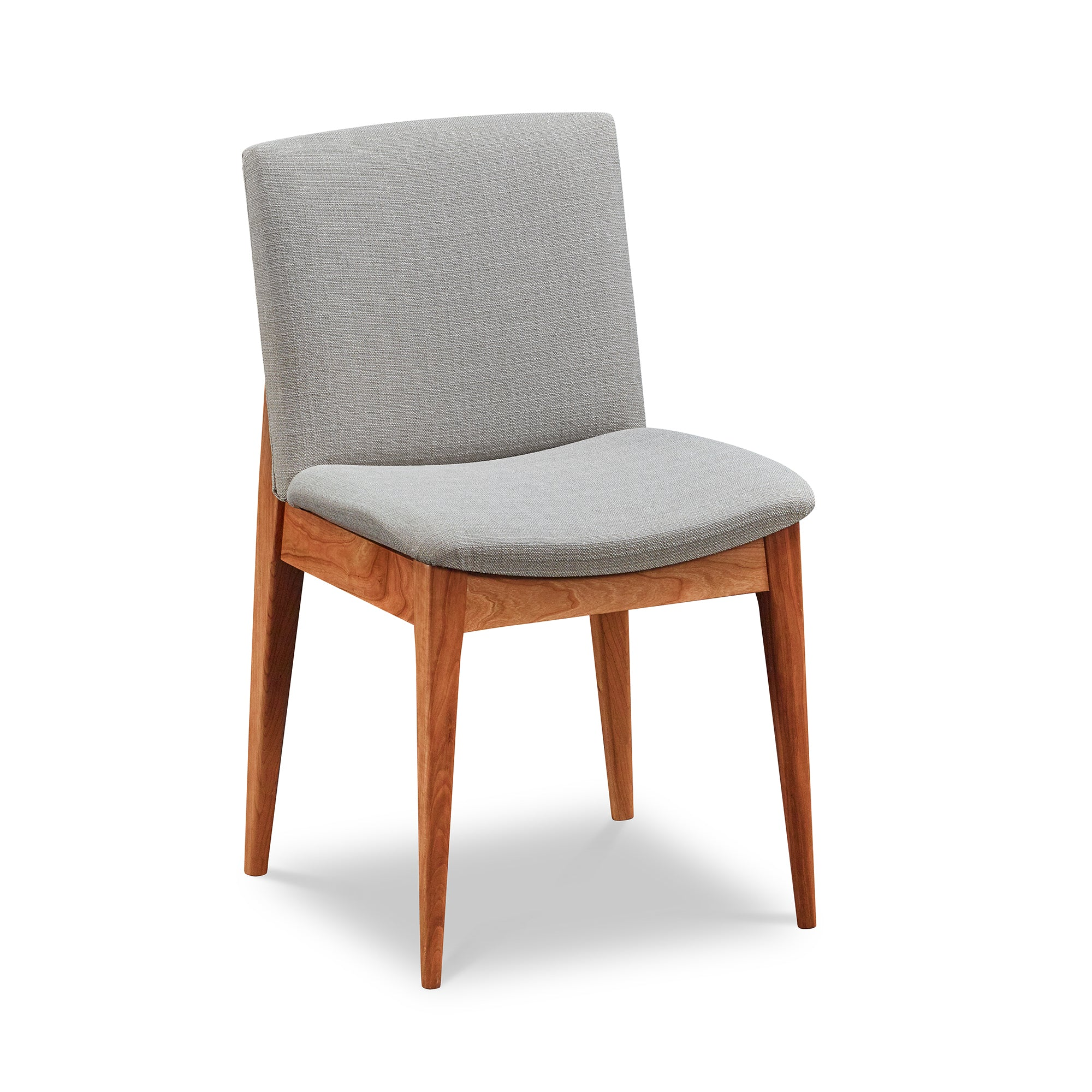 Mid-century modern Metro Chair with round tapered legs in cherry and light grey cushion