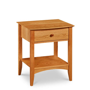 Shaker style Penobscot nightstand with one drawer, shelf with arched apron and tapered legs, in cherry wood
