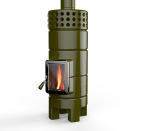 Modern Scandinavian Style wood-burning stove, in green