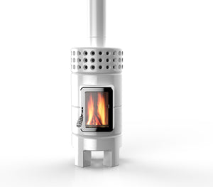 Modern Scandinavian Style wood-burning stove, in white