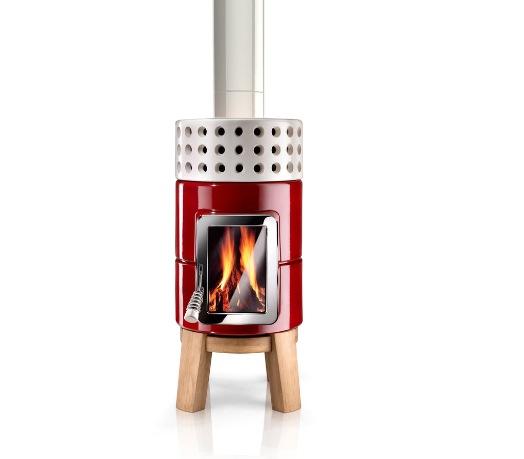 Modern Scandinavian Style wood-burning stove, in red with oak wood base