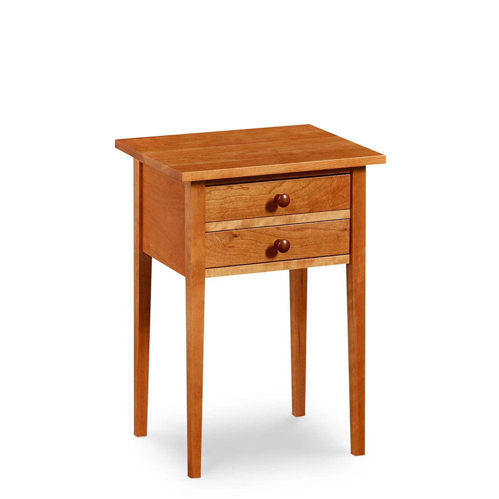 Shaker style, two drawer lamp stand with square tapered legs in cherry wood, from Maine's Chilton Furniture Co.