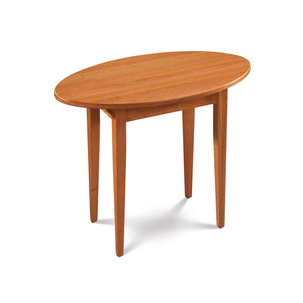 Simple Shaker End Table, built in cherry with oval top and square tapered legs