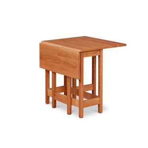 Small gateleg dropleaf table with one leaf down, built in solid cherry wood