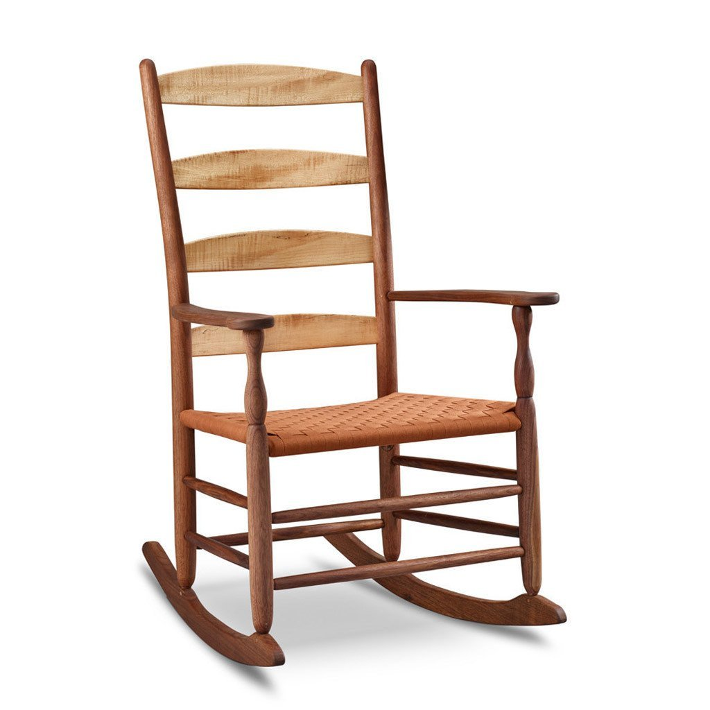Classic Shaker style rocking chair with four rung slatted ladder back, in walnut and maple wood with woven seat tape
