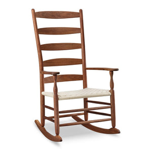 Classic Shaker style rocking chair with five rung slatted ladder back, in walnut wood with white seat tape