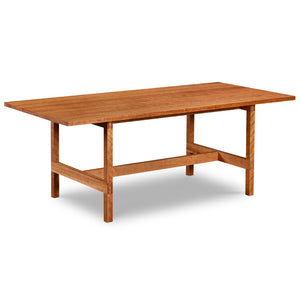 Modern trestle table with visible joinery in cherry, from Maine's Chilton Furniture Co.