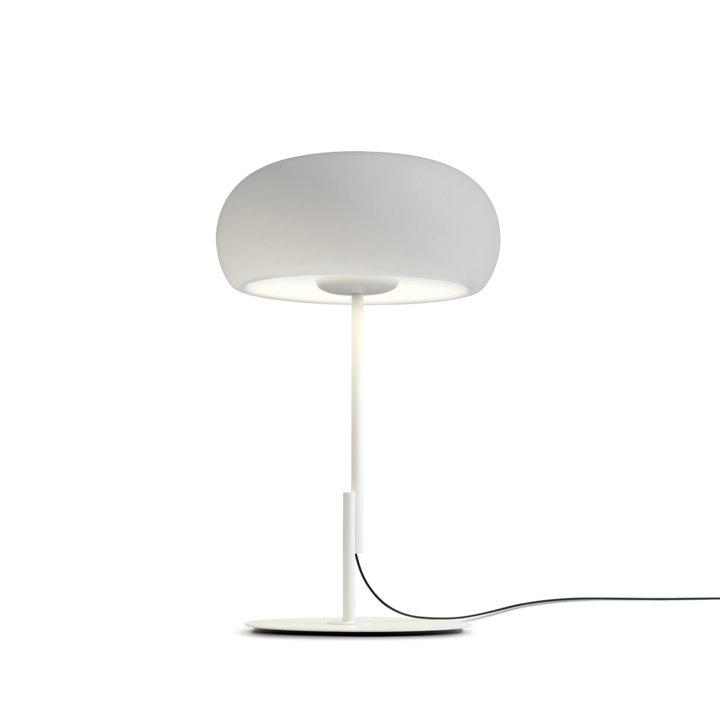 Scandinavian style white table lamp with rounded glass shade
