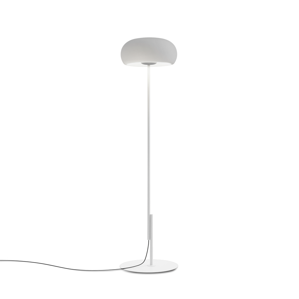 Scandinavian style white floor lamp with rounded glass shade