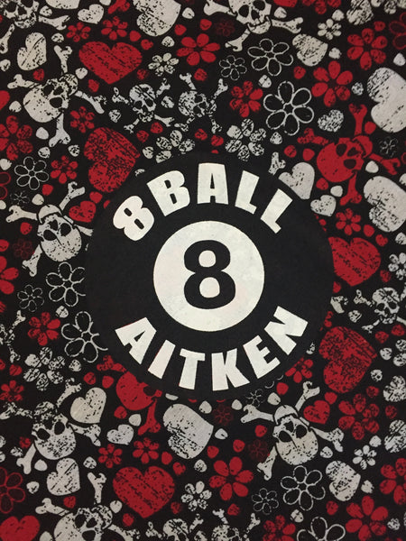 8 Ball Skull & Hearts Bandanna