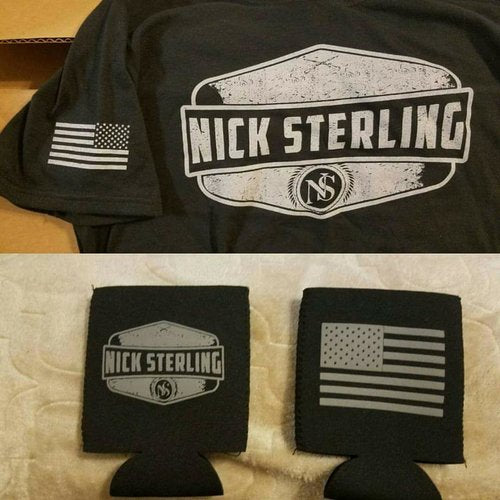 Black Nick Sterling Next Level Tri-Blend T-Shirts and Koozie