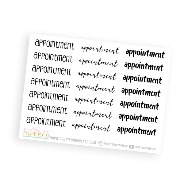 Appointment - Typography Stickers