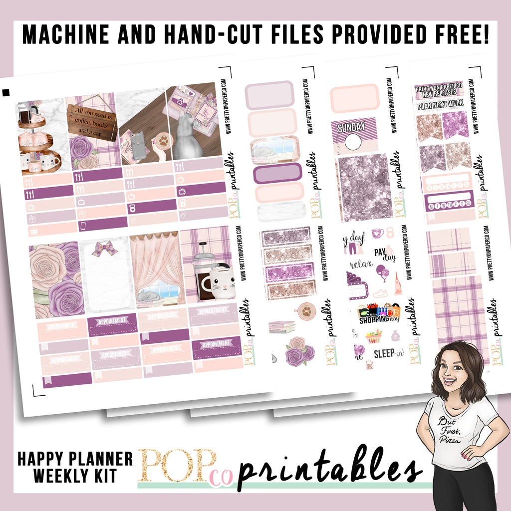 Caffeinated Cats Happy Planner Weekly Kit Printable