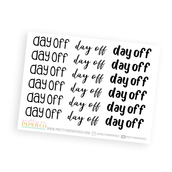 Day Off - Typography Stickers
