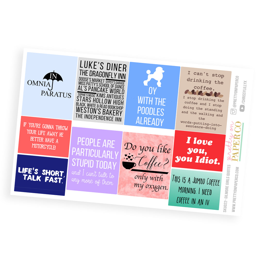 Gilmore Girls Quotes - Planner Stickers (SKU022)