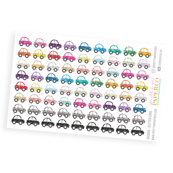 Glitter Cars - Planner Stickers